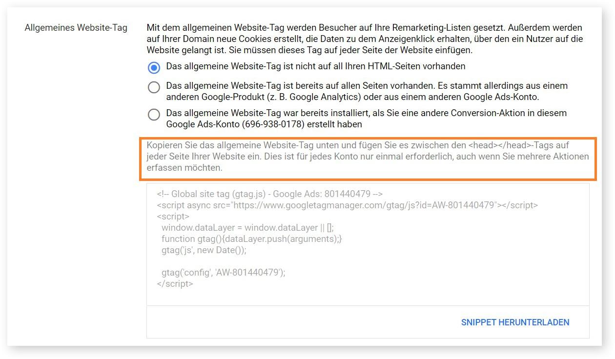 die Tag-Einrichtung, wenn das allgemeine Website-Tag nicht auf all Ihren HTML-Seiten vorhanden ist