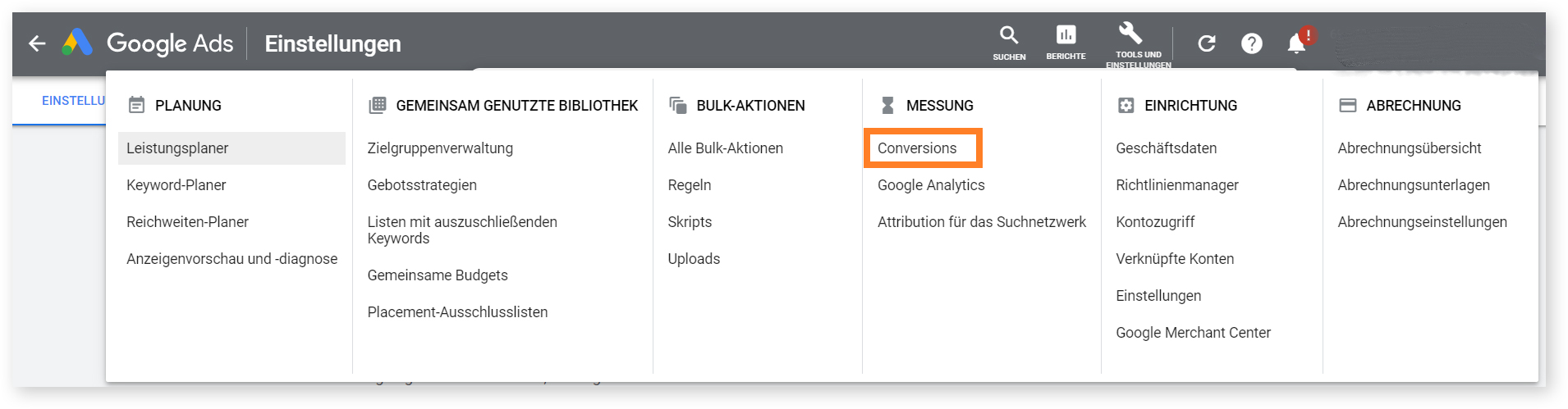 Erstellung einer neuen Сonversion-aktion in Google Ads