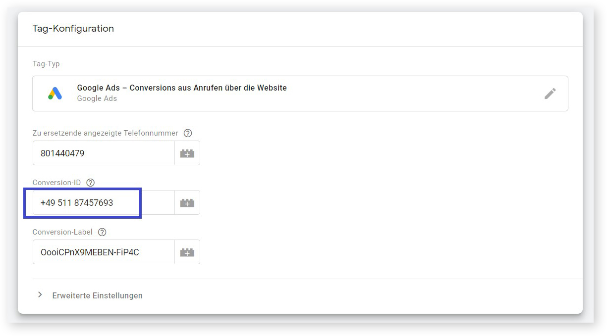 Tag-Konfiguration in Google Tag Manager