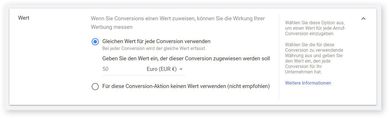 Conversion-Wert
